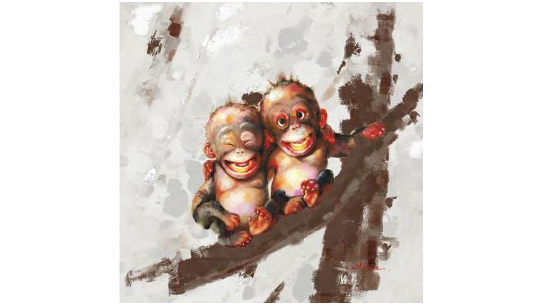 """Картина маслом """" Братья обезьяны """""""