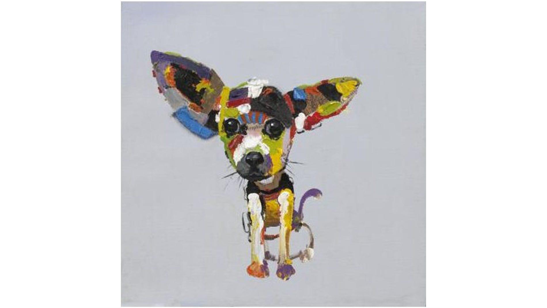 Картина маслом Собака слушает