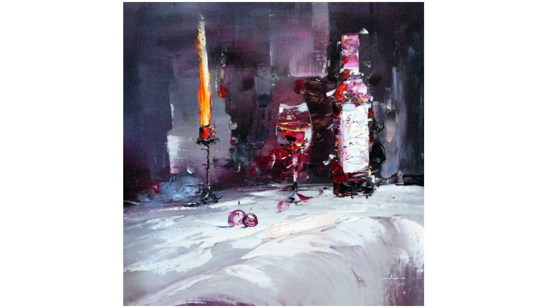 """Картина маслом """" Вино и свечи """""""