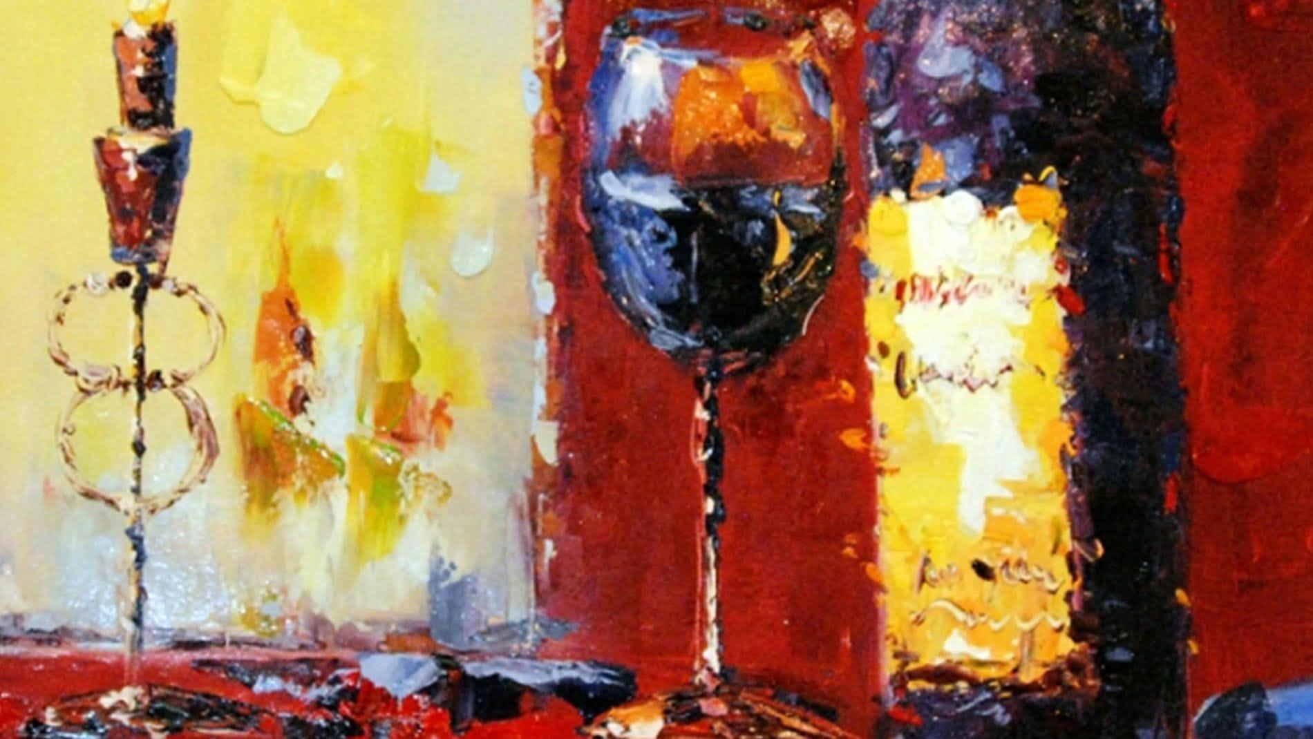 """Картина маслом """" Вино и свечи - 2  """""""