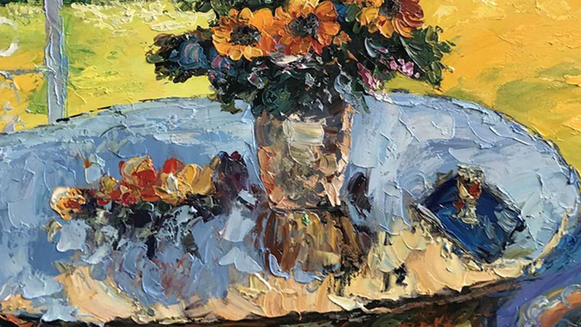 """Картина маслом """" Цветы на столе """""""