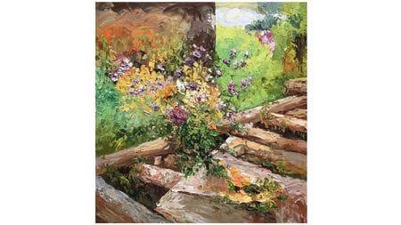 Картина маслом Мост в деревне