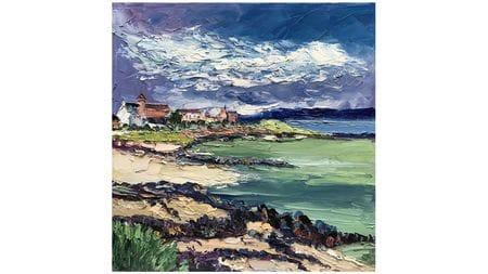 Картина маслом Деревня у моря