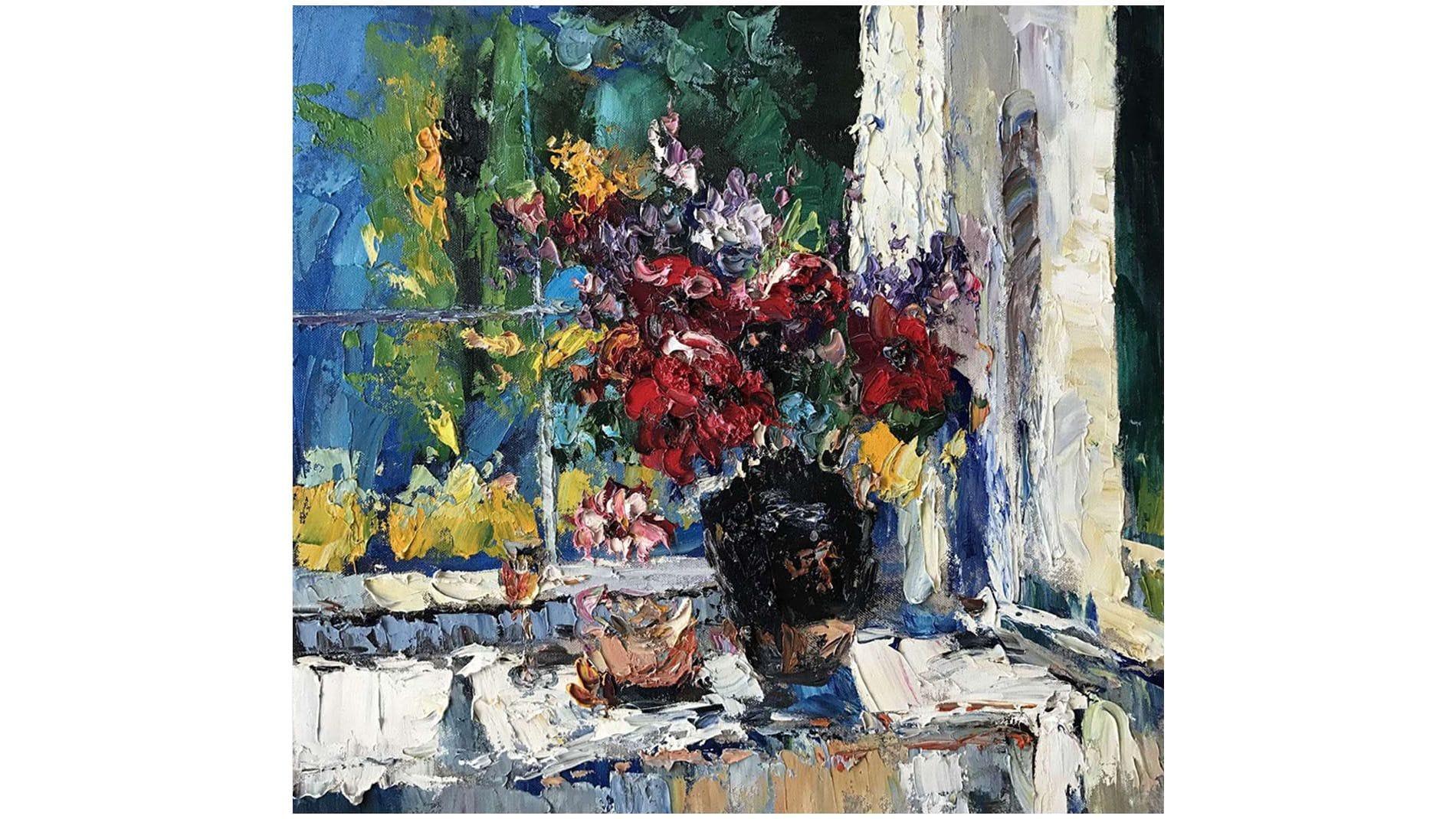 """Картина маслом """" Цветы в окне """""""