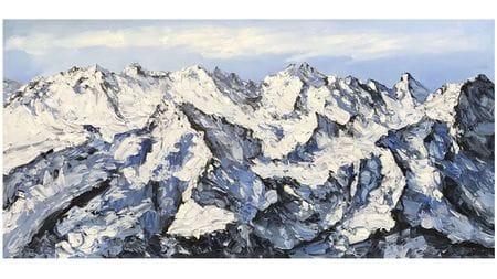 Картина маслом Заснеженные горы