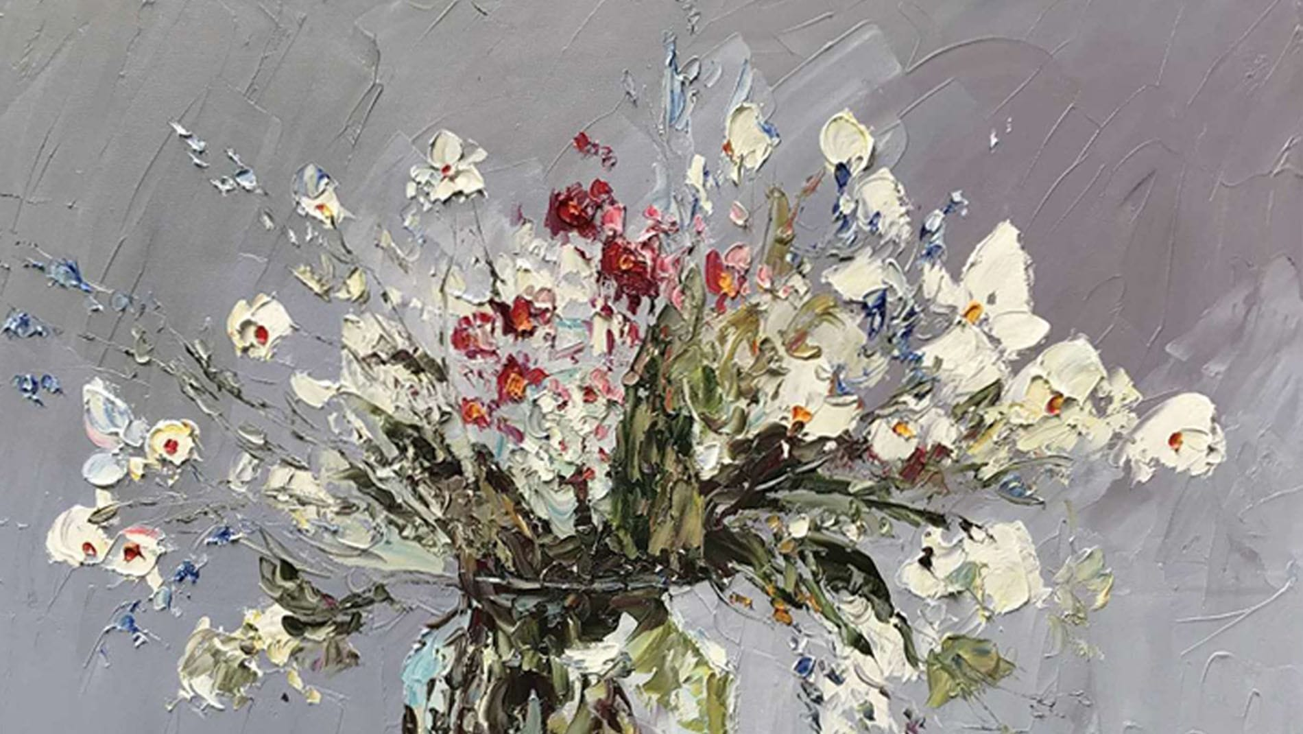 """Картина маслом """" Цветы в горшке - 2 """""""