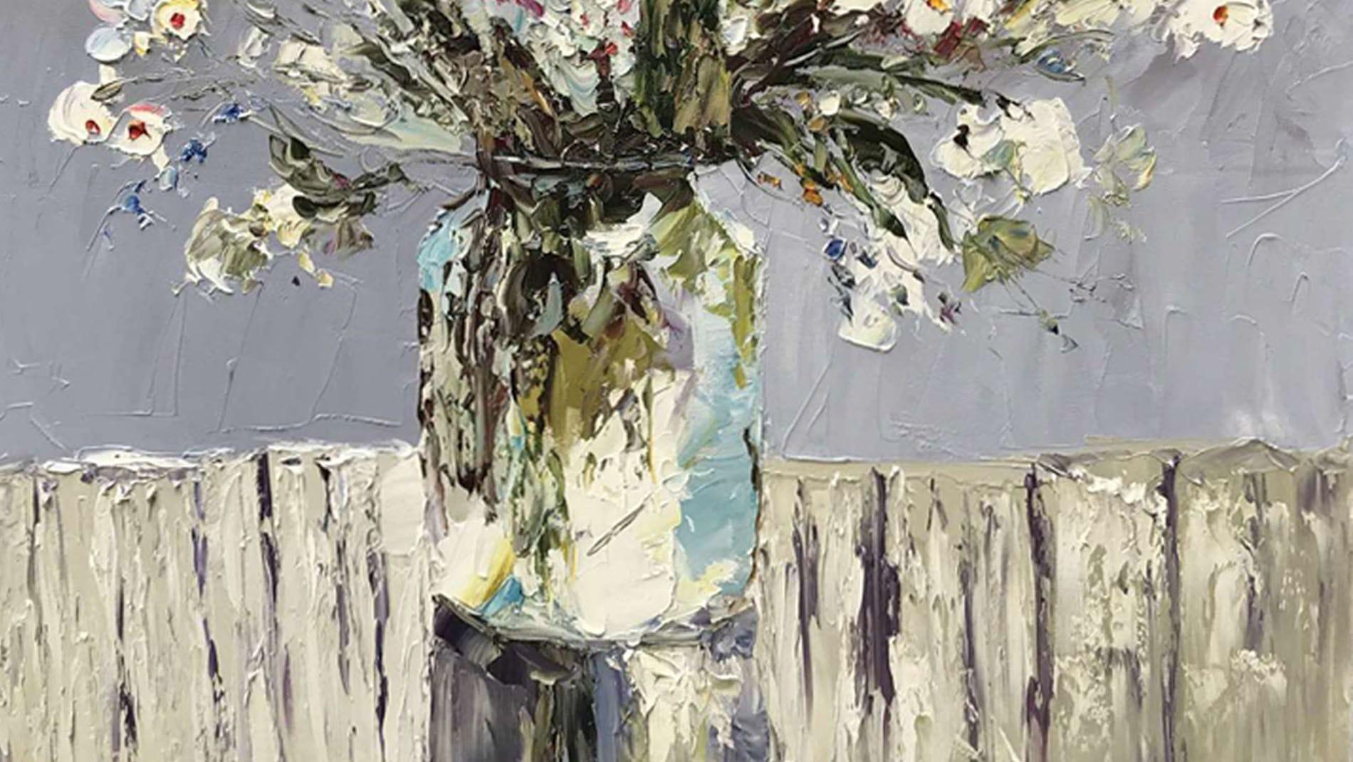 Картина маслом Цветы в горшке - 2