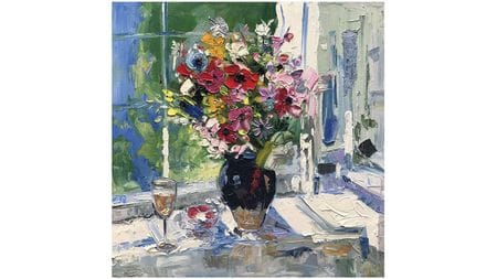 Картина маслом Шампанское и цветы