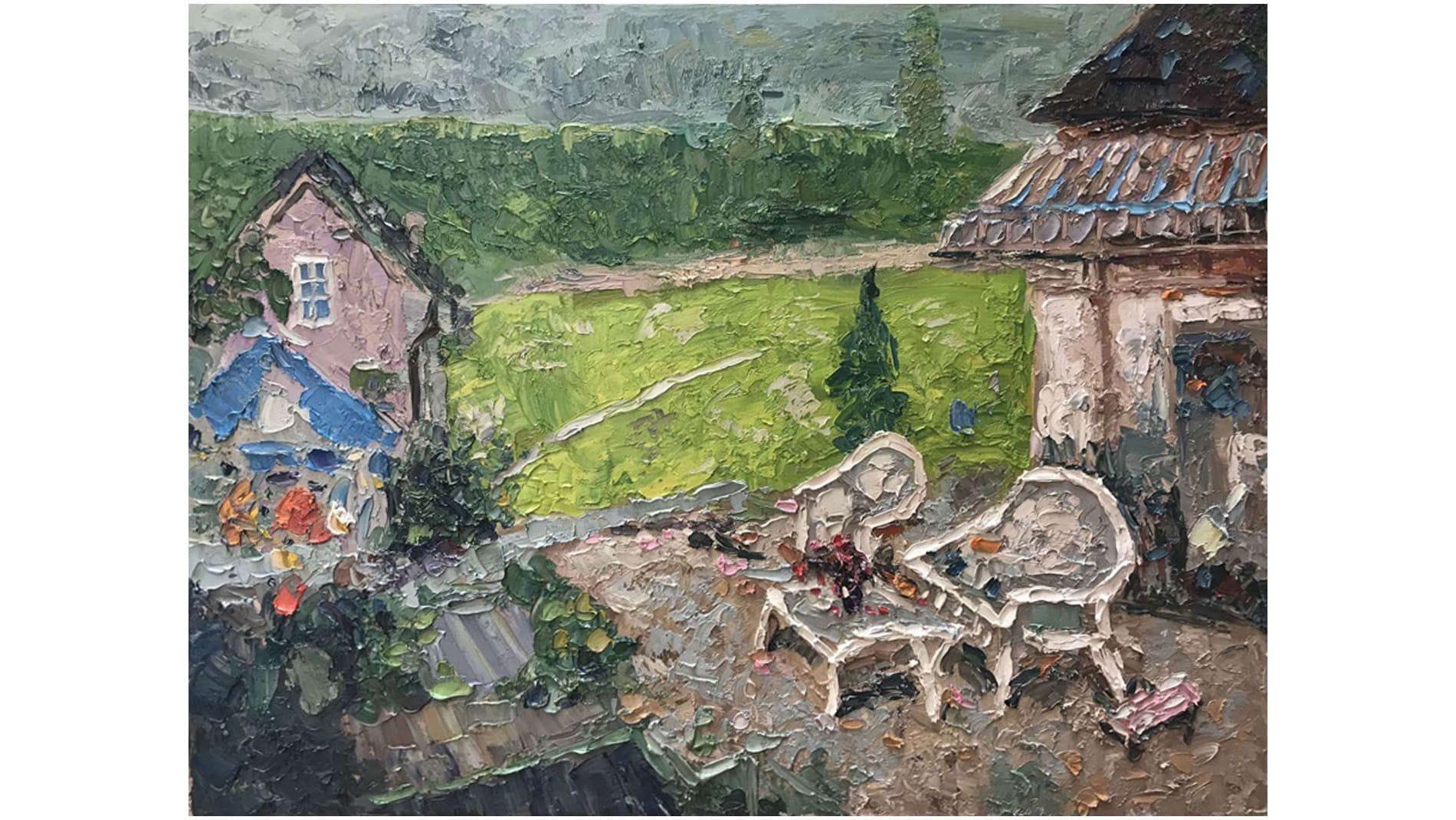 Картина маслом Во дворе