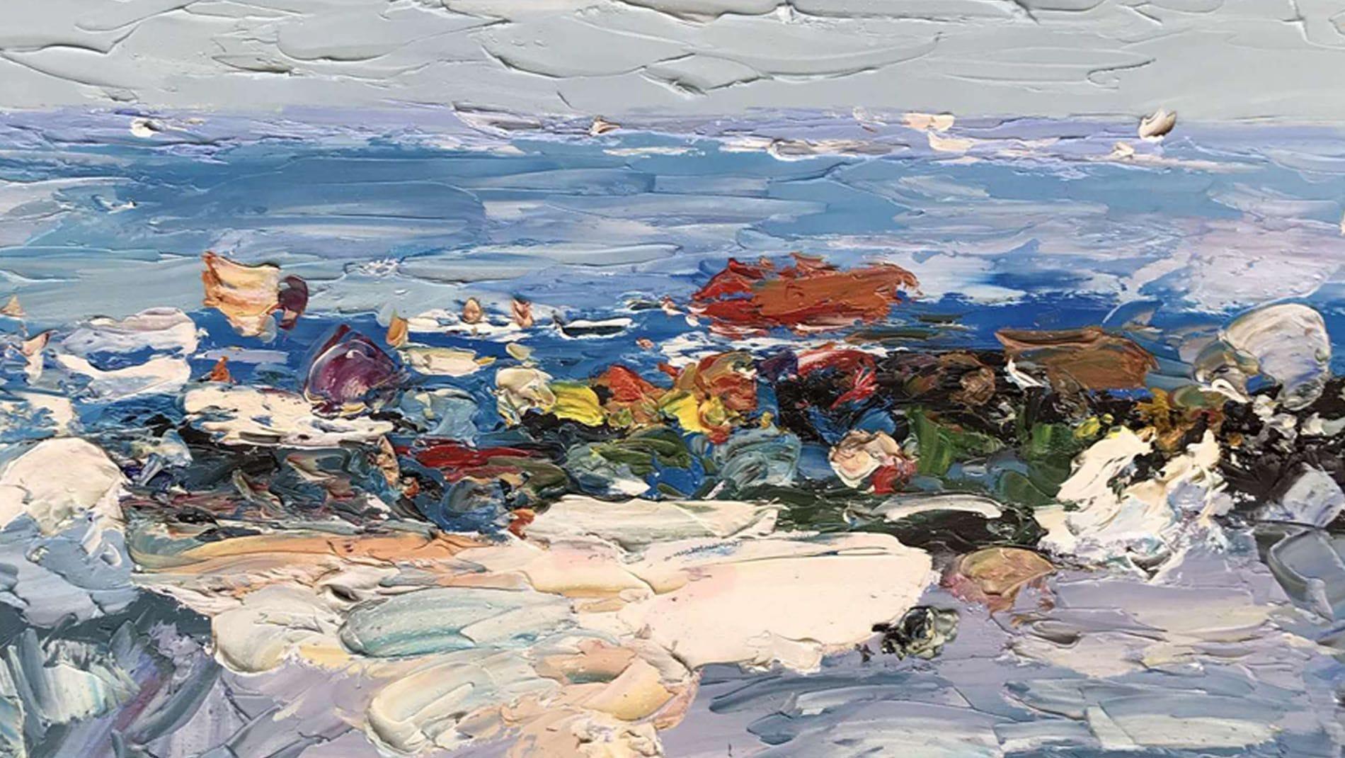 Картина маслом Цветы на море