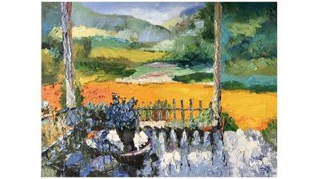 Картина маслом Цветы в саду