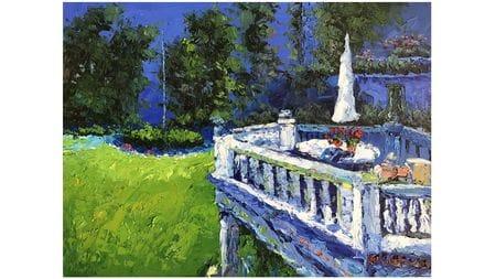 """Картина маслом """" Балкон в саду """""""