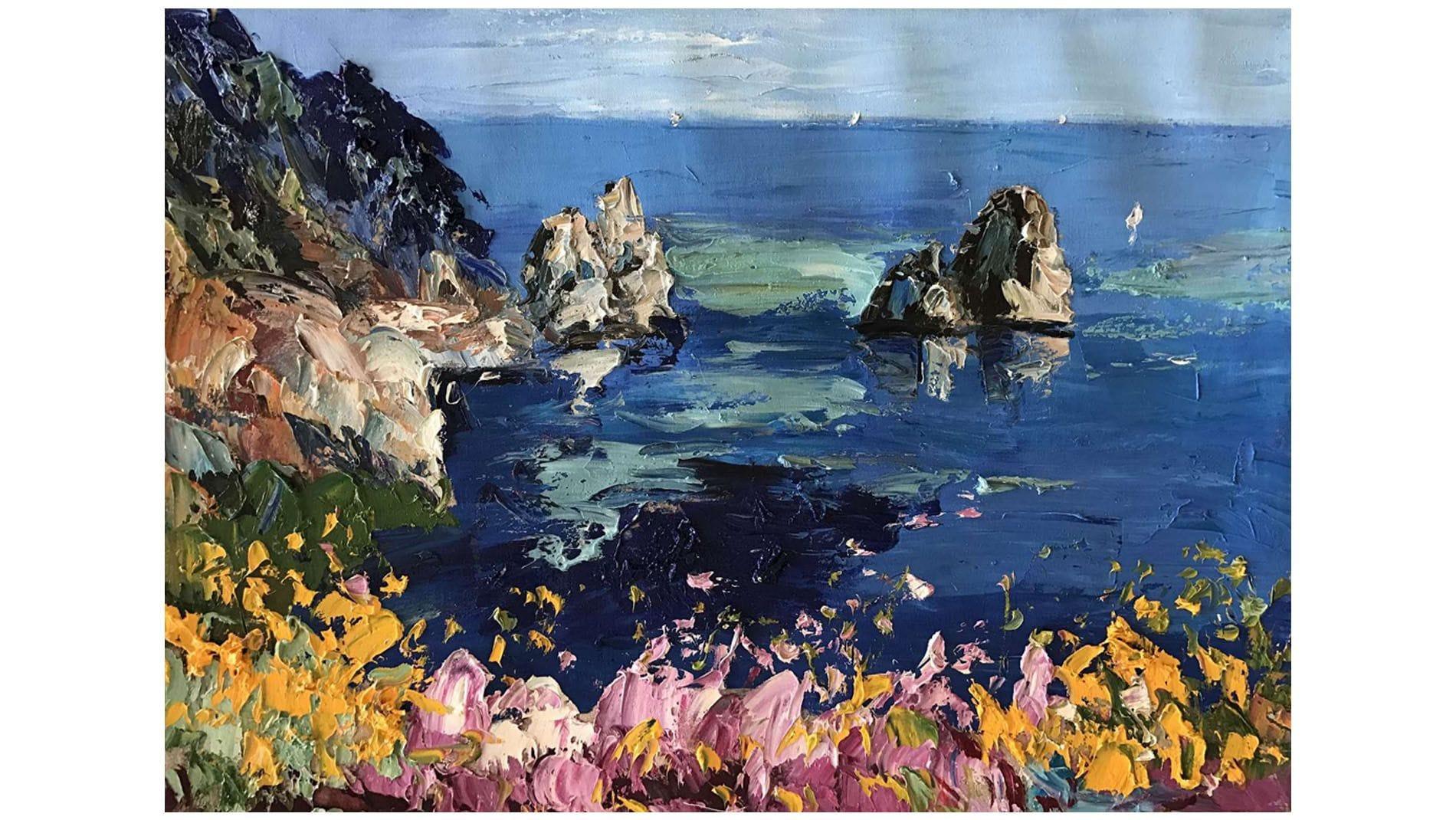 Картина маслом Морские скалы