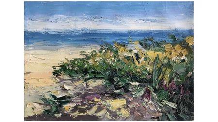 """Картина маслом """" Прибрежные цветы """""""
