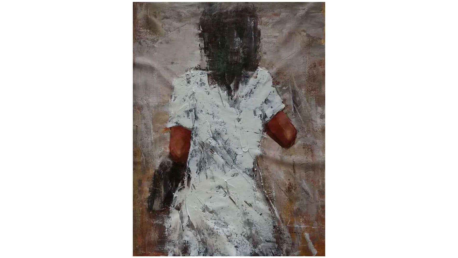 """Картина маслом """" Девушка в белом """""""