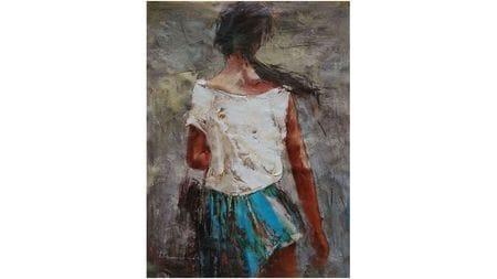 Картина маслом Брюнетка в платье