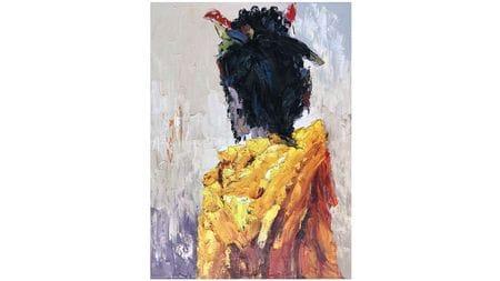 Картина маслом Гейша в желтом