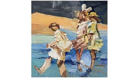 Картина маслом Дети на пляже