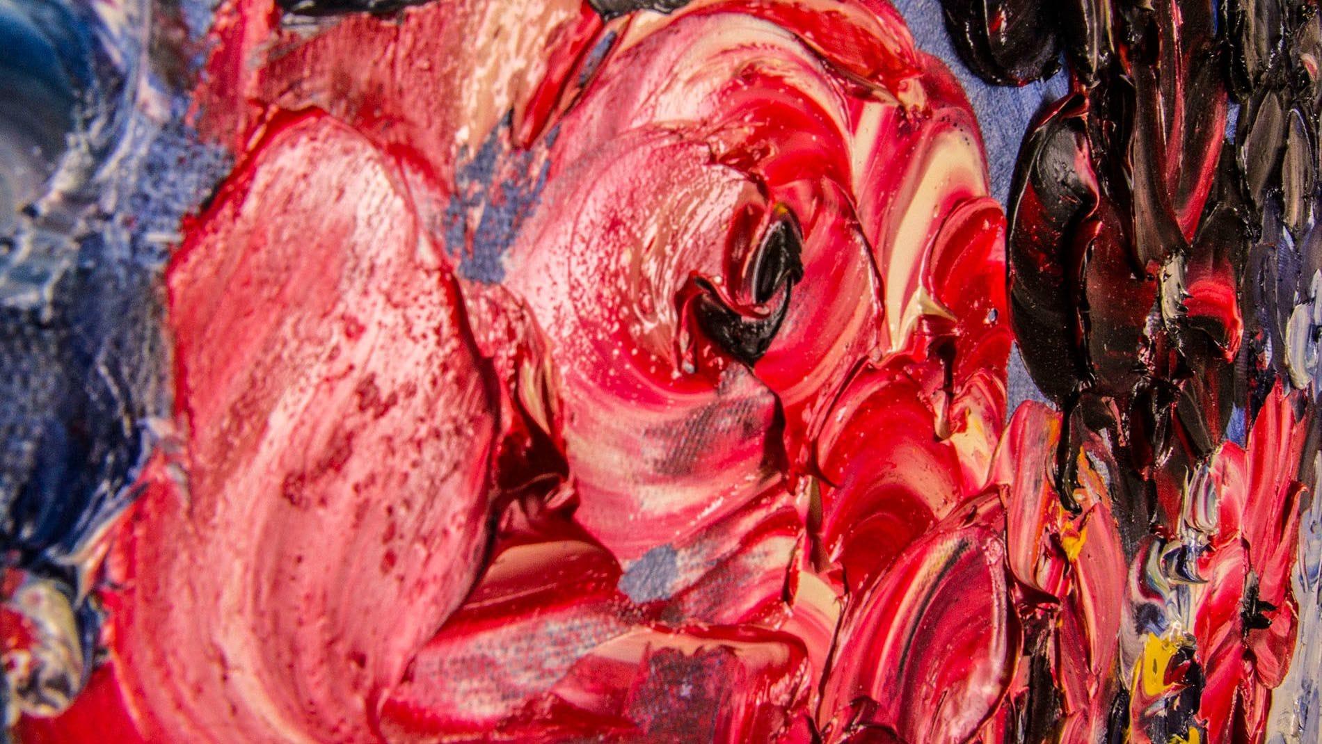 """Картина маслом цветы """"Красочные розы"""" 90*120 см."""