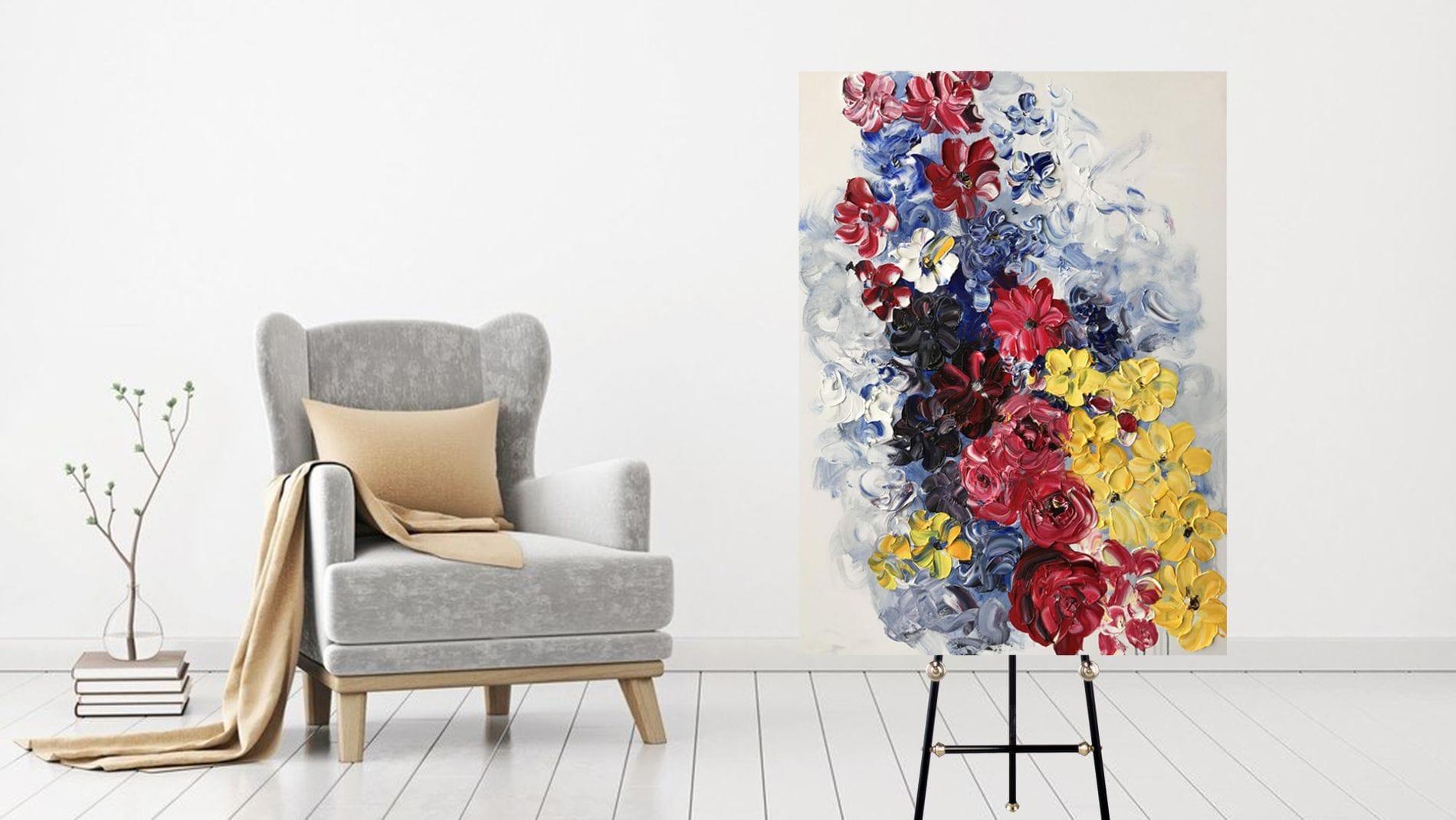 Картина маслом Красочные розы 90*120 см.