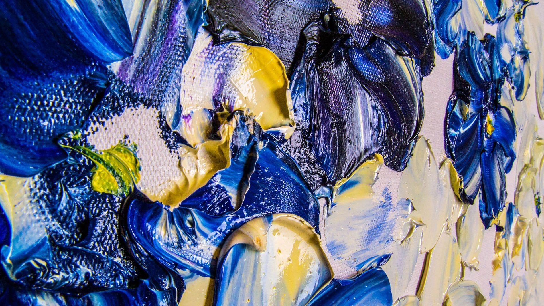 Картина маслом Фиалки цветут 90*120 см.