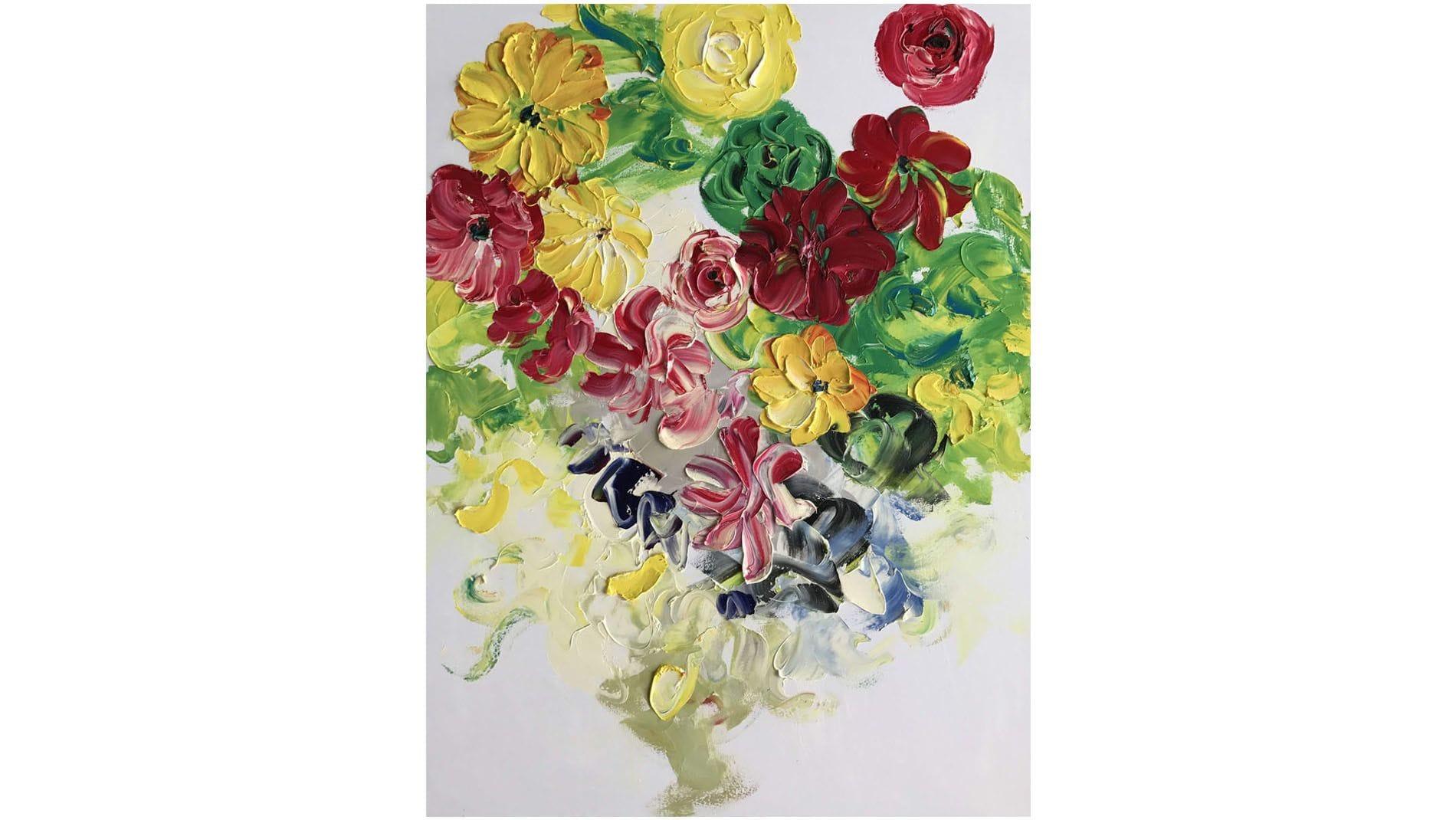 КАРТИНА МАСЛОМ Разноцветные Лилии 90*120 см.