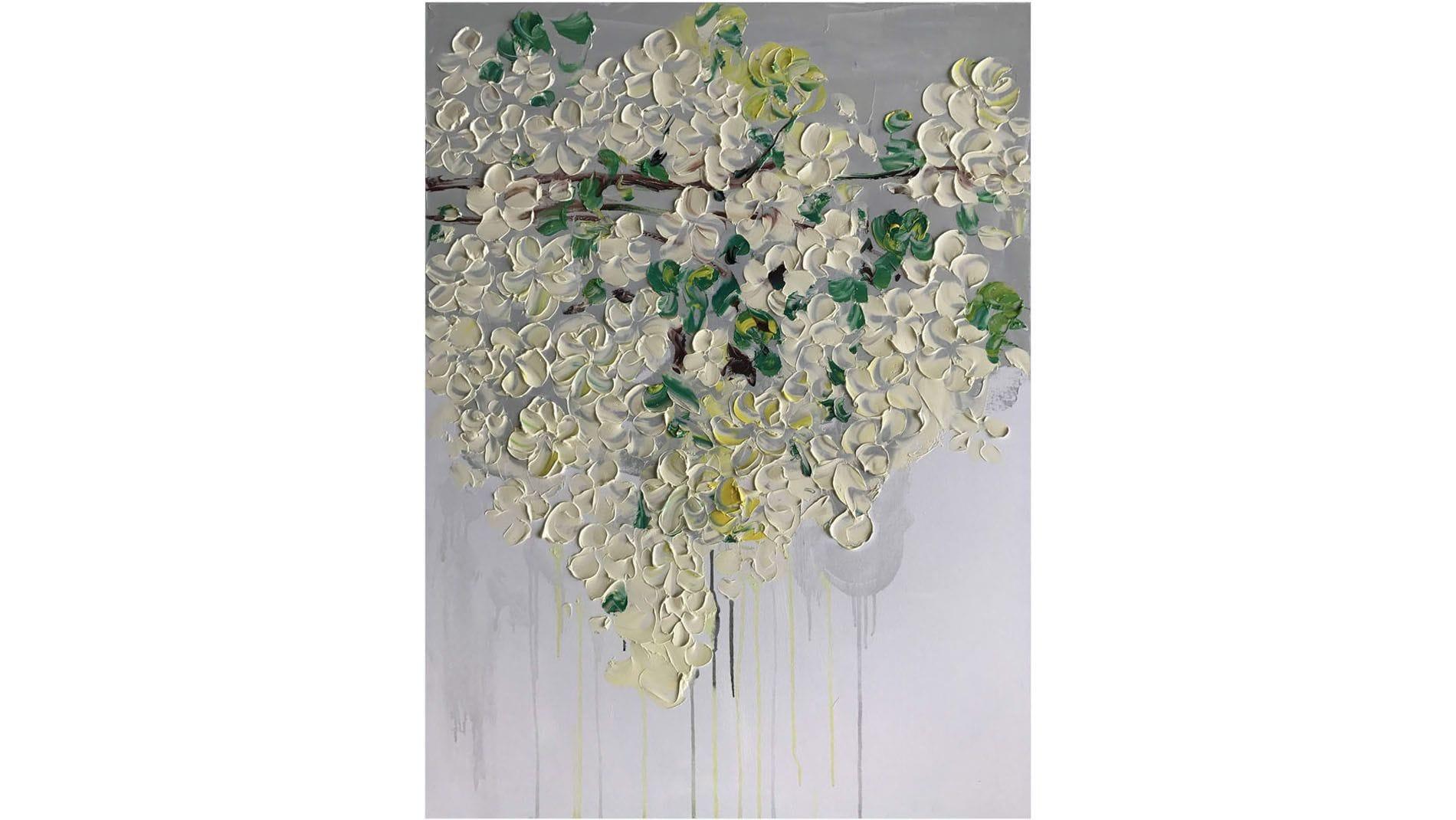 КАРТИНА МАСЛОМ Белые цветы 90*120 см.