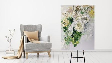 КАРТИНА МАСЛОМ Белоснежные цветы 90*120 см.