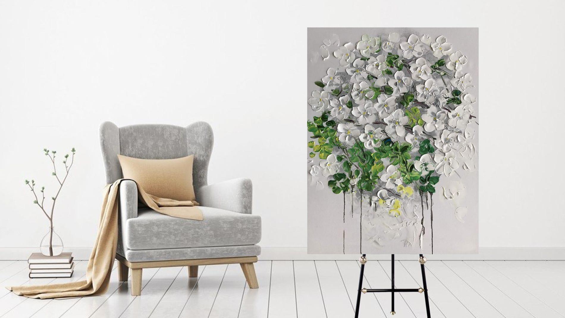 """КАРТИНА МАСЛОМ """"Белая орхидея"""" 90*120 см."""