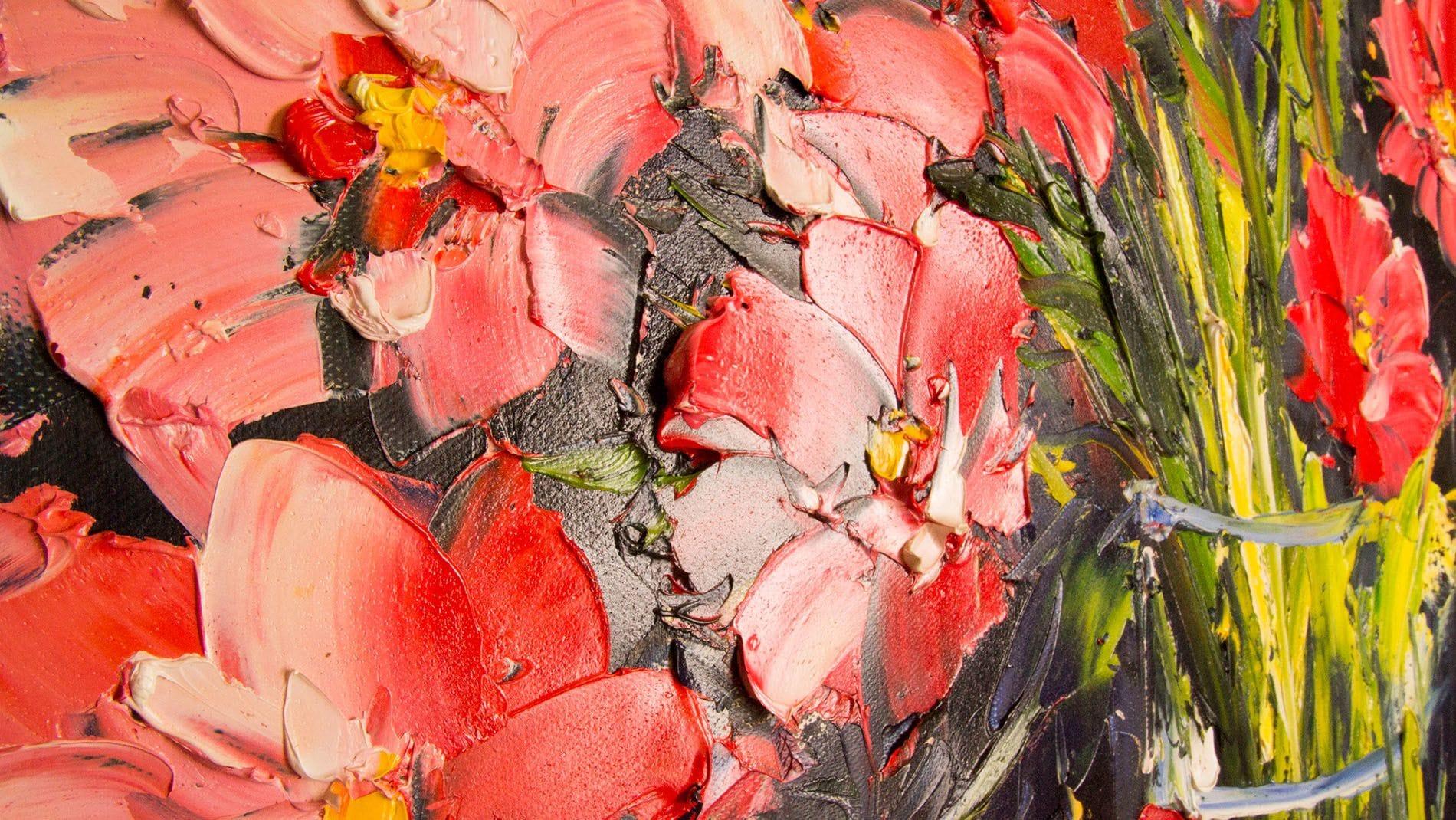 КАРТИНА МАСЛОМ Цветы маки 80*80 см.