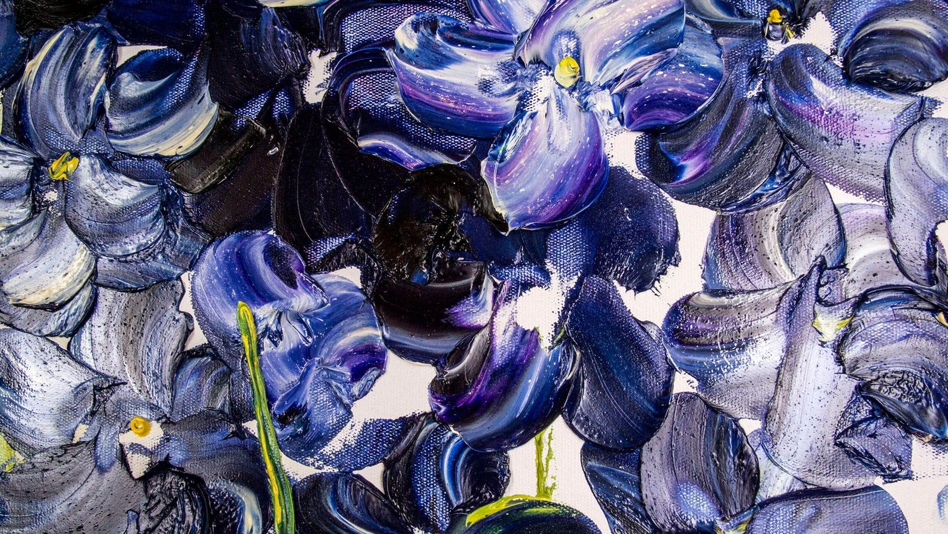 """КАРТИНА МАСЛОМ """" Синии орхидеи"""" 100*100 см."""