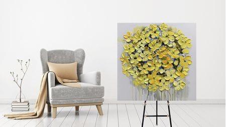 Картина маслом Прекрасные жёлтые цветы 100*100 см.