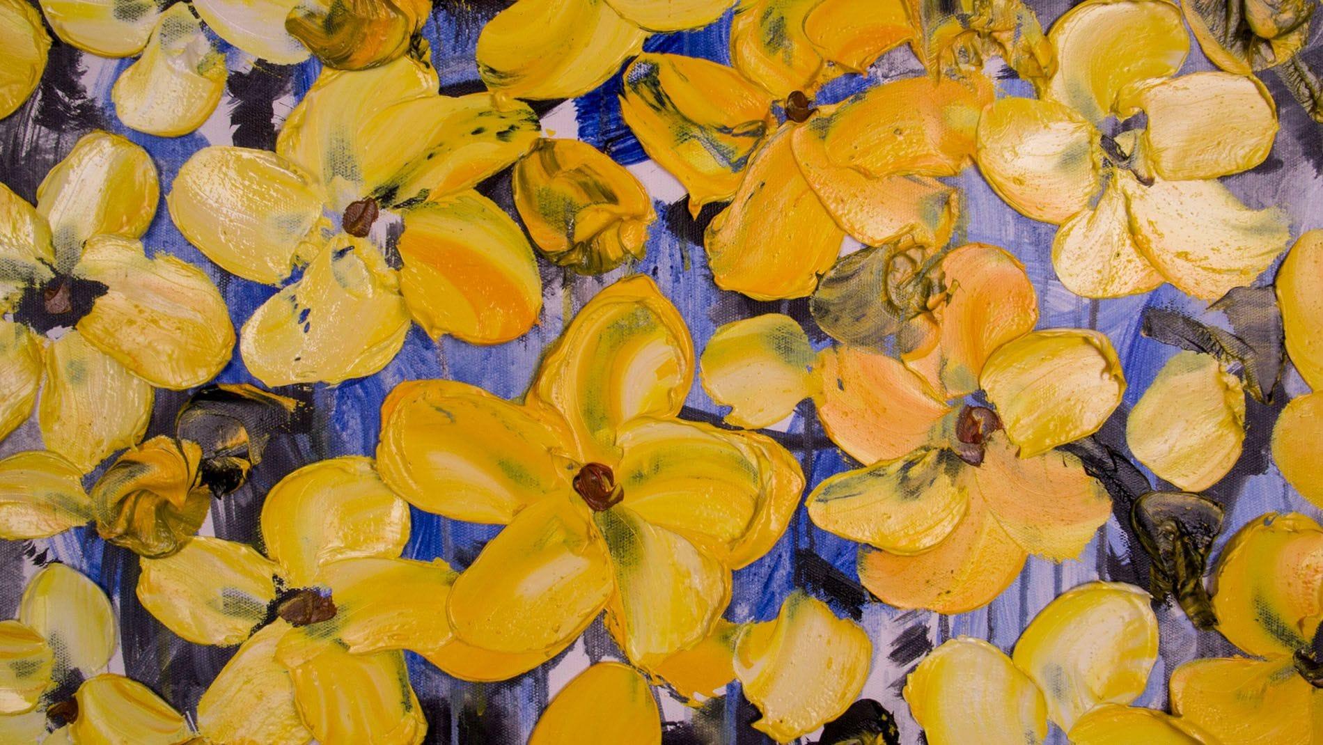 """Картина маслом """"Прекрасные жёлтые цветы"""" 100*100 см."""