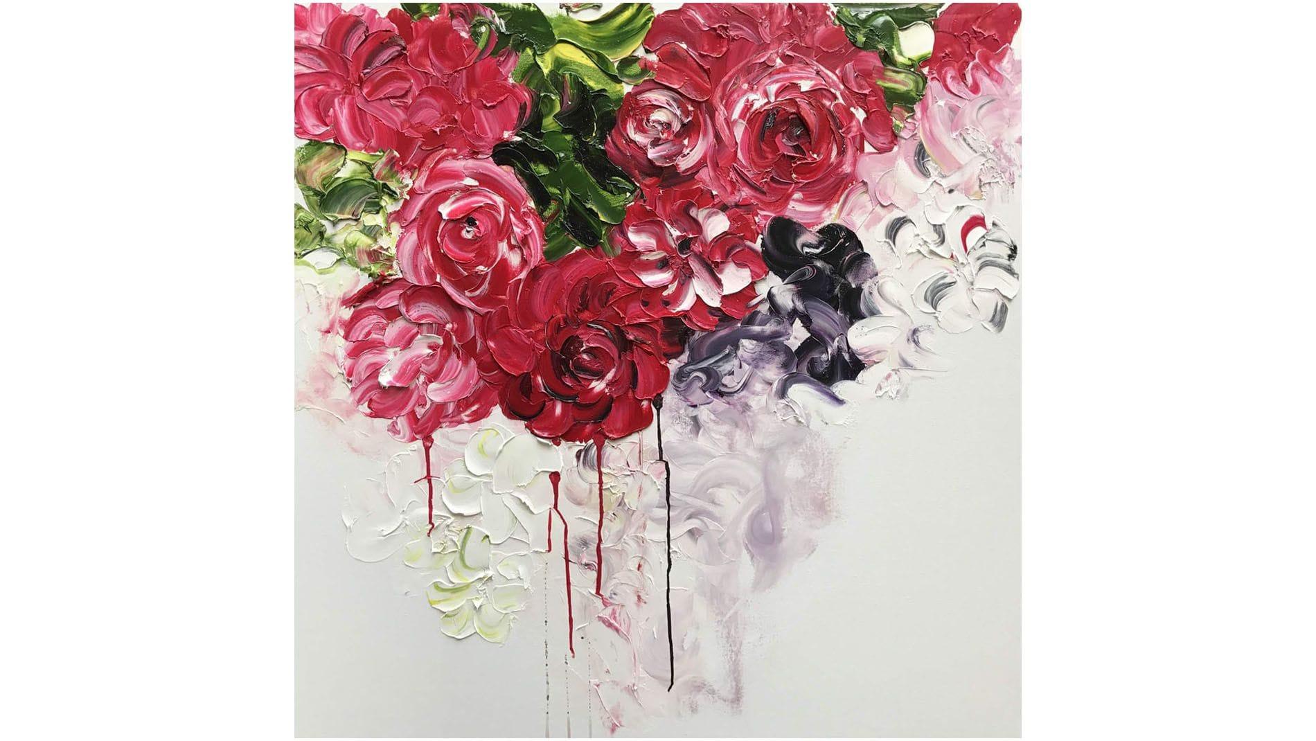 """КАРТИНА МАСЛОМ """"Алые розы"""" 100*100 см."""