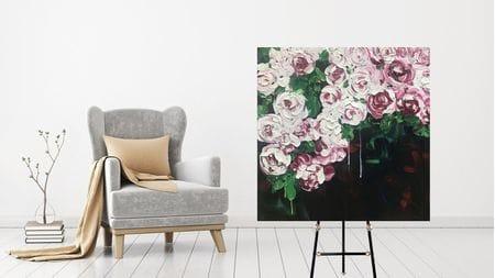 КАРТИНА МАСЛОМ Розы цветут 100*100 см.