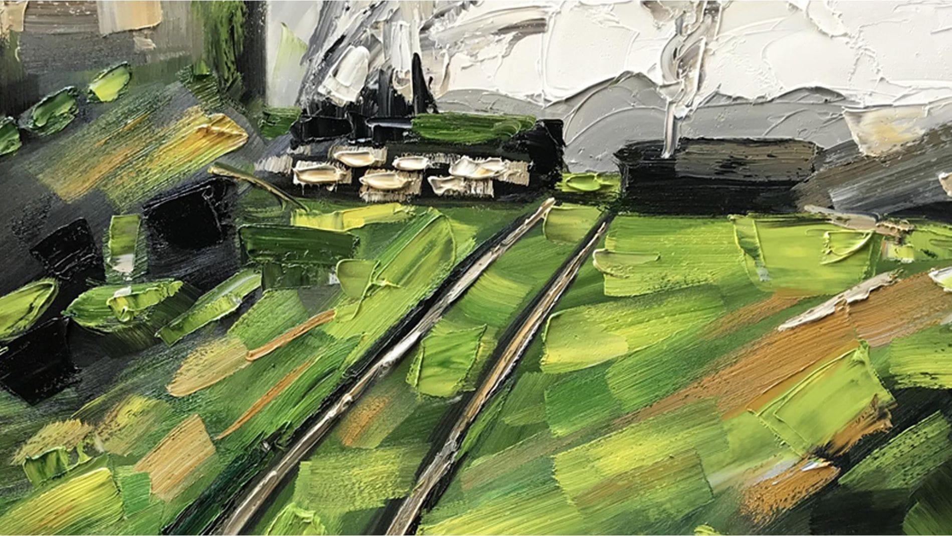 Картина маслом Деревня