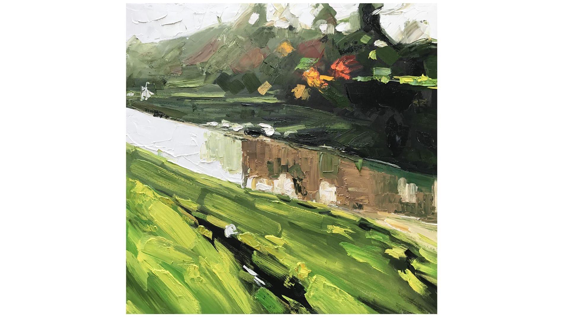 Картина маслом Река