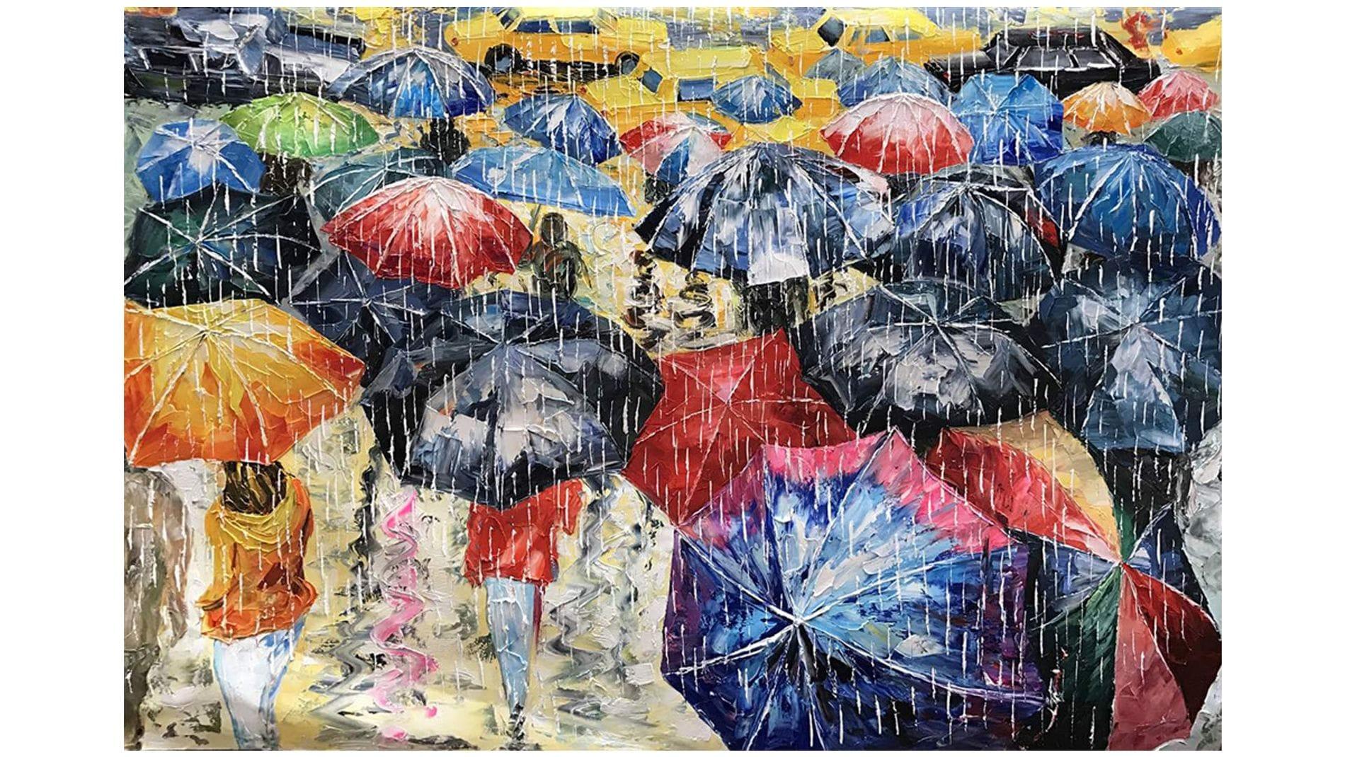 Картина маслом Дождь - 3