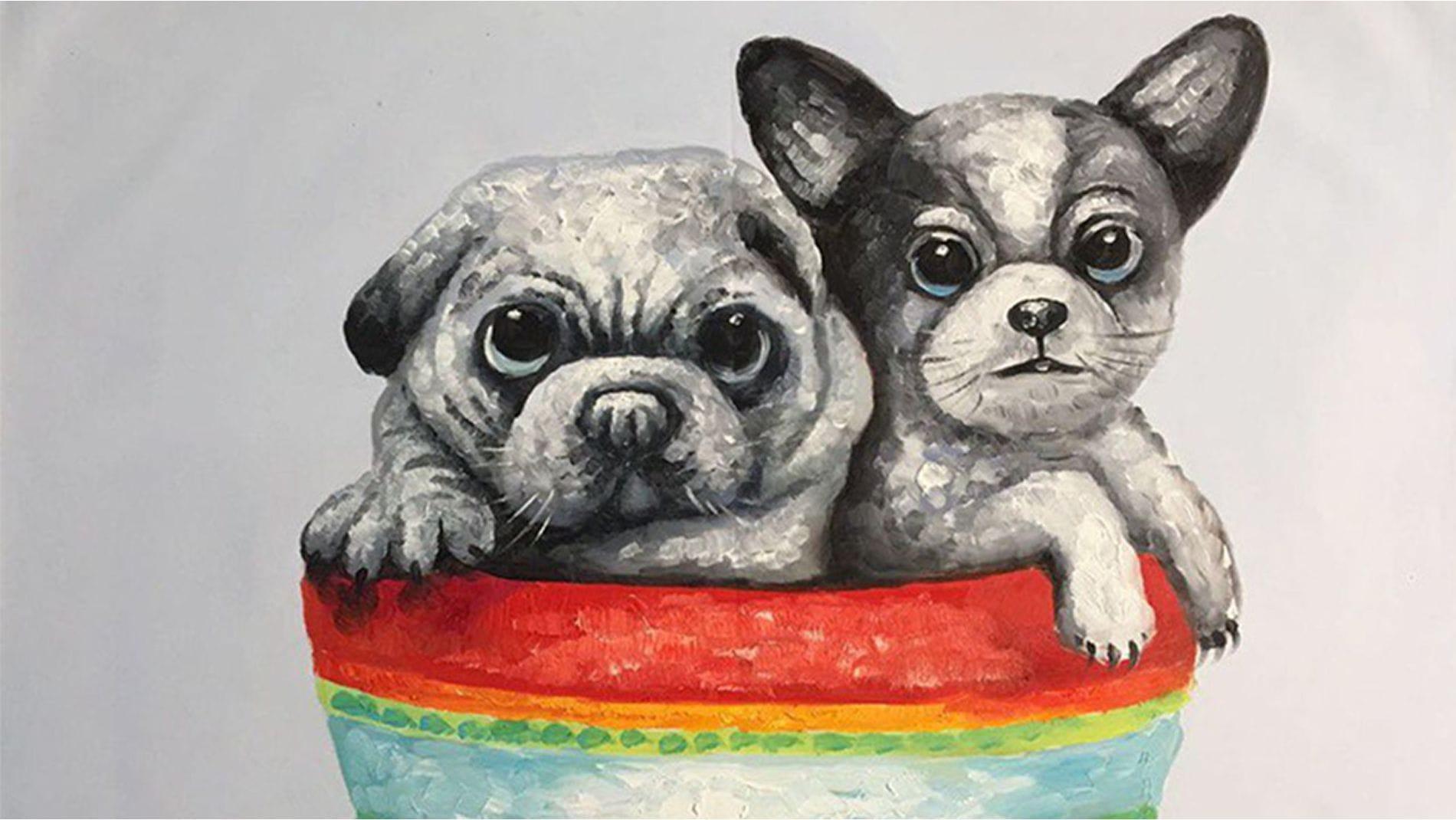 Картина маслом Маленькие друзья