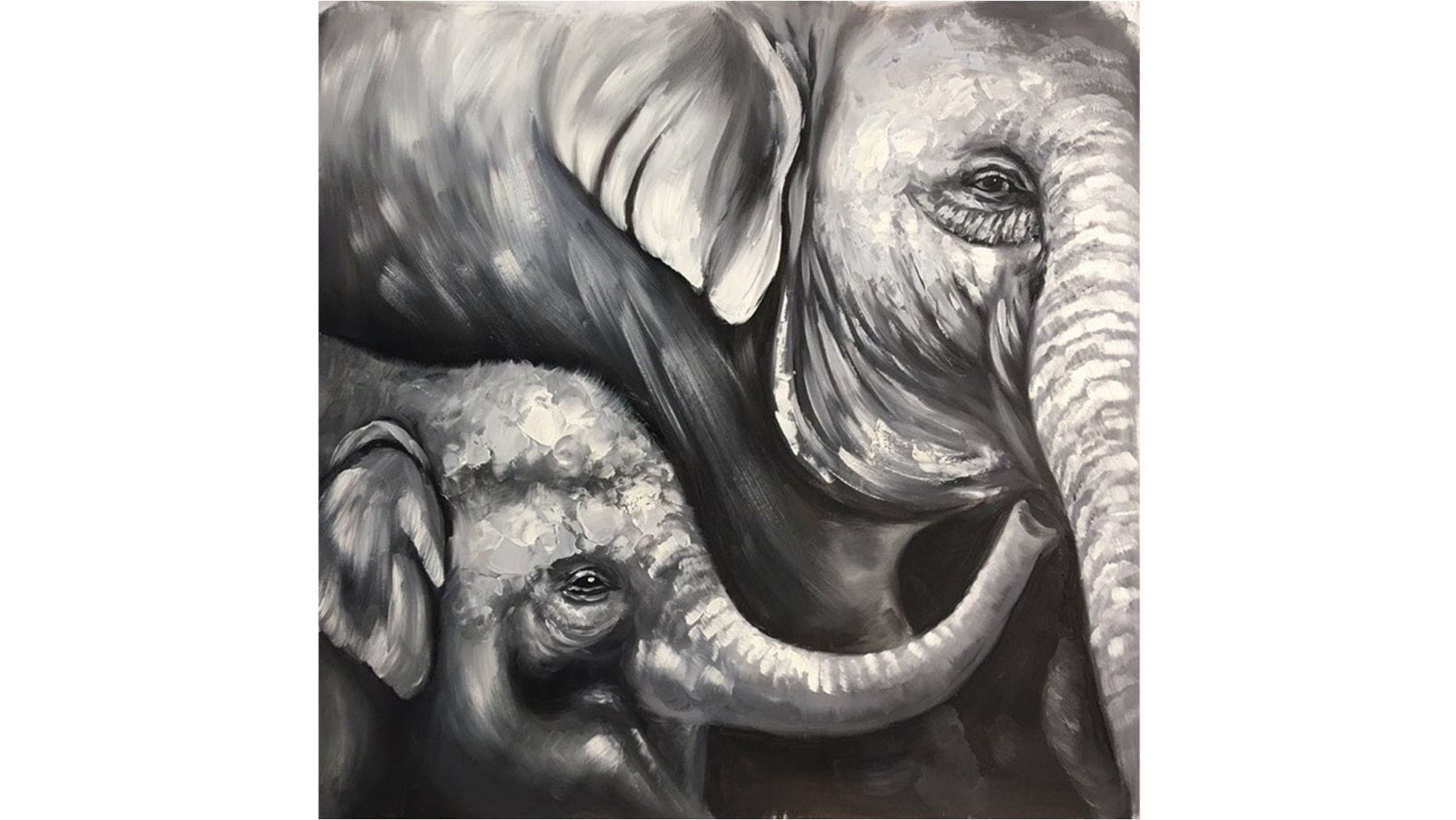 Картина маслом Милые слоны