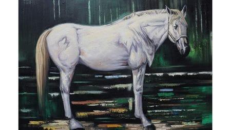 Картина маслом Белый конь