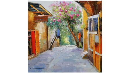 Картина деревенская улочка